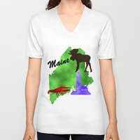 maine V-neck T-shirts featuring Maine by Nova Jarvis