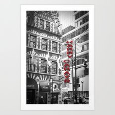 Red Harry Caray's Black and White Chicago Photography Art Print