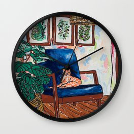 Ginger Cat on Blue Mid Century Chair Painting Wall Clock