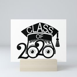 Class of 2020 Graduation Cap with Glasses Mini Art Print