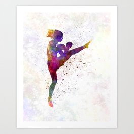 Woman boxer boxing kickboxing silhouette isolated 01 Art Print