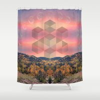 moon phases Shower Curtains featuring Phases by Rachel Thornton