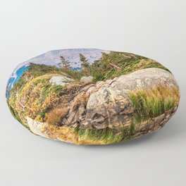 Pond on the Mountain // Beautiful Green Landscape of Trees and Mountains Floor Pillow
