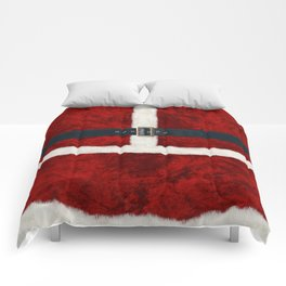 Funny Christmas Santa Costume Cosplay Outfit - Fluffy Red and White with Belt and Buckle Comforters