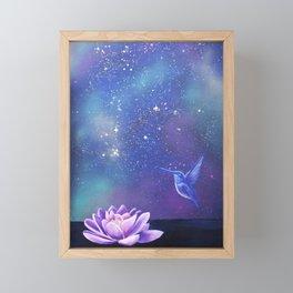 Lotus and hummingbird Framed Mini Art Print