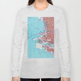 Vintage Map of Oakland California (1959) Long Sleeve T-shirt