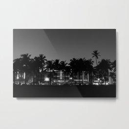 South Beach Miami Black & White, Fine Art Landscape Photography Metal Print