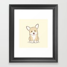 Eli the Corgi Illustration Framed Art Print