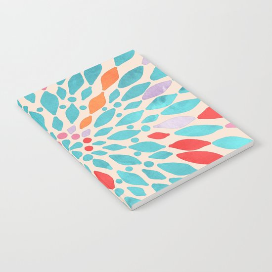 Radiant Dahlia - teal, orange, coral, pink watercolor pattern Notebook