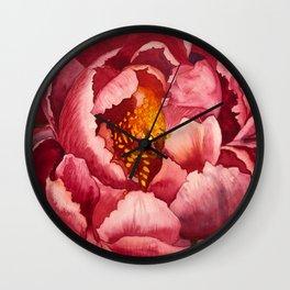 Pink Peony Flower Botanical Watercolor Macro Floral - Susanne Johnson Art Wall Clock
