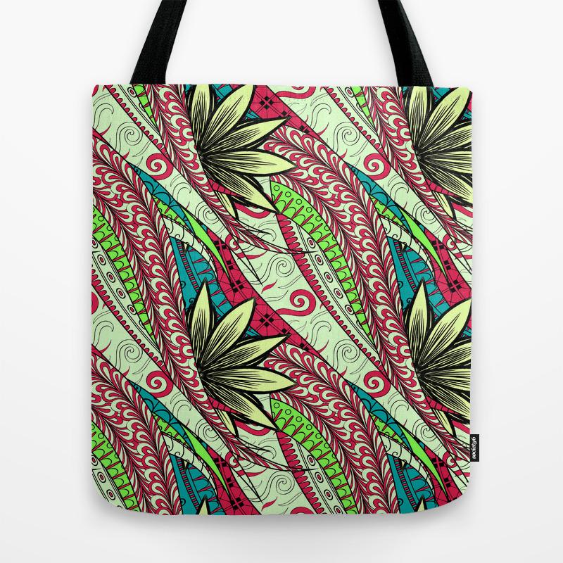 Boho Diagonal Floral Pattern Tote Bag