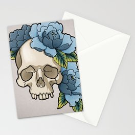 Skull & Blue Peonies Stationery Cards
