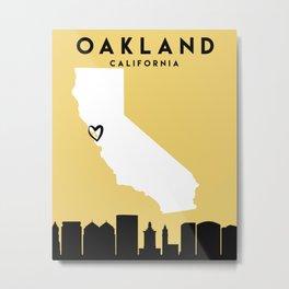OAKLAND CALIFORNIA LOVE CITY SILHOUETTE SKYLINE ART Metal Print