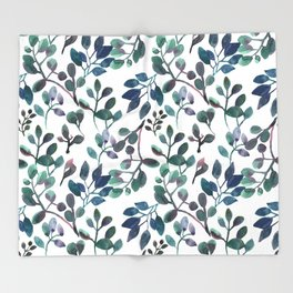 Jade and Succulent Watercolor Plant Pattern Throw Blanket