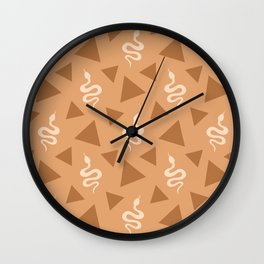 Crawling snakes silhouettes and abstract triangle shapes. Stylish classy whimsical artistic chocolate brown retro vintage geometric animal nature pattern. Reptiles. Geometry. Wall Clock