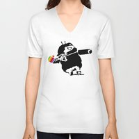 banksy V-neck T-shirts featuring Banksy + Android = Bankdroid by Williams Davinchi