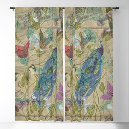Vintage Ivory Green Blue Pink Peacock Collage Blackout Curtain