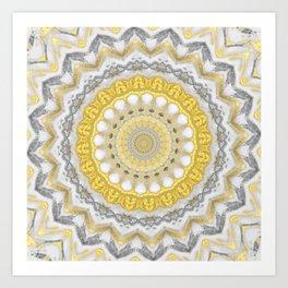 Bohemian Silver Gold Mandala Art Print