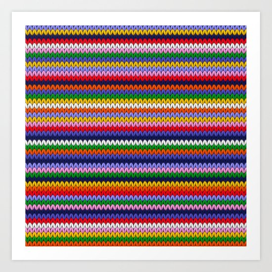 Knitted colorful lines Art Print