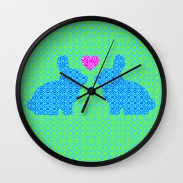 Blue and Green Digital Pattern with Pair of Bunnies in Love with Pink Heart Wall Clock