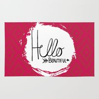 hello beautiful Area & Throw Rugs featuring Hello Beautiful by Fat Bird Designs by Mary Baltzell