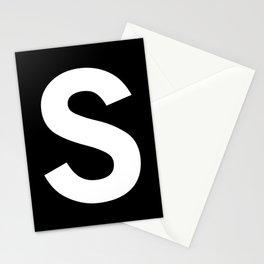 Letter S (White & Black) Stationery Cards