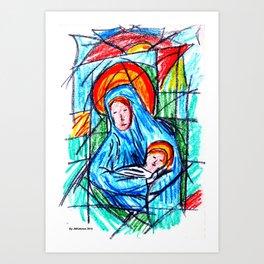 Maria e o menino Art Print