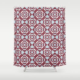 Simple geometric stripe flower red and blue Shower Curtain