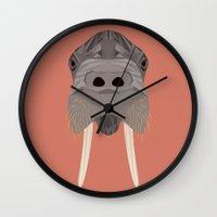 walrus Wall Clocks featuring Walrus by Aaron Keshen