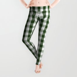 Dark Forest Green and White Gingham Check Leggings