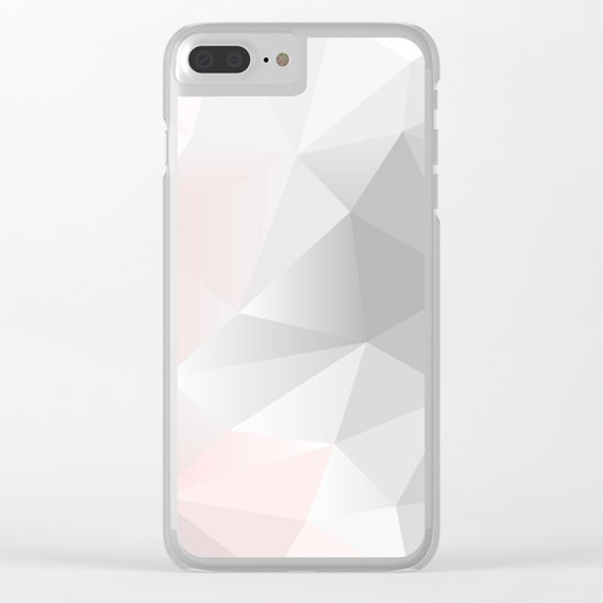 pink and gray geometric low poly background Clear iPhone Case