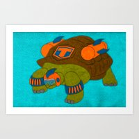 tortoise Art Prints featuring Tortoise by subpatch