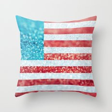 Red, White, and Glitter (Photo of Glitter) Throw Pillow