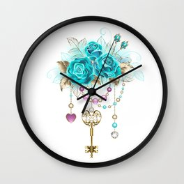 Turquoise Roses with Keys Wall Clock