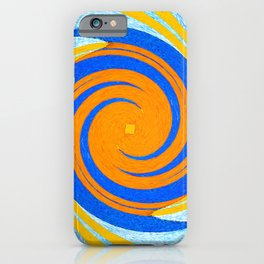 Colorful orange and blue spiral swirling elliptical constellation star galaxy abstract design iPhone Case