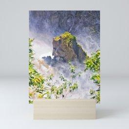Rock in the falls Mini Art Print