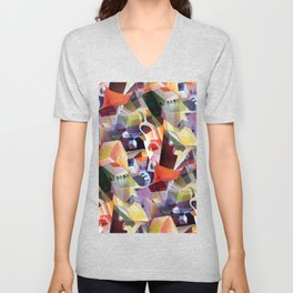 Contemporary Abstract in Modern Geometric Cubism Style Unisex V-Neck