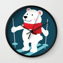 Lets Go Skiing with Mr Polar Bear this Merry Christmas Wall Clock