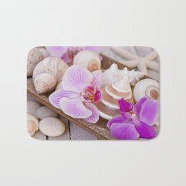 Pink Orchid and Sea Shell Maritime Still Life Bath Mat