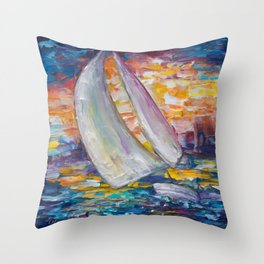 Sailing Boat by Lena Owens Throw Pillow