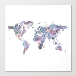 Watercolor Floral Map Canvas Print