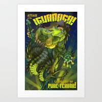 Attack of the IguaNaga! Art Print