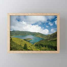 Crater lake in Azores Framed Mini Art Print