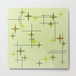 Mid Century Modern Stars Chartreuse Metal Print