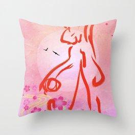 Monkey Steals A Peach Throw Pillow