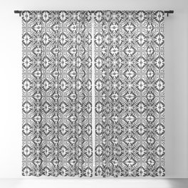 Floral Moroccan Tile, Black and White Sheer Curtain
