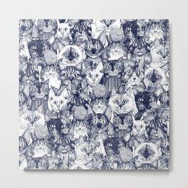 CHRISTMAS CATS blue Metal Print