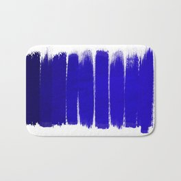 Shel - abstract painting painterly brushstrokes indigo blue bright happy paint abstract minimal mode Bath Mat