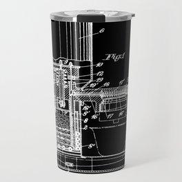 Espresso Machine Patent Artwork - White on Black Travel Mug