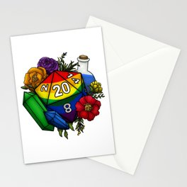 Pride Rainbow D20 Tabletop RPG Gaming Dice Stationery Cards